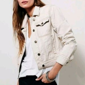 Free People White Fitted Denim Jacket Medium